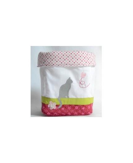 """Panier de rangement petit modèle """"ombre de chat rose"""""""